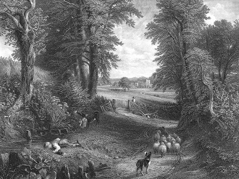 Steel engraving c. 1850 after John Constable's 'The Cornfield' (detail).