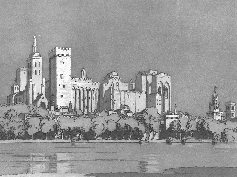 Avignon, Palais des Papes, aquatint by Sir Francis Barry.