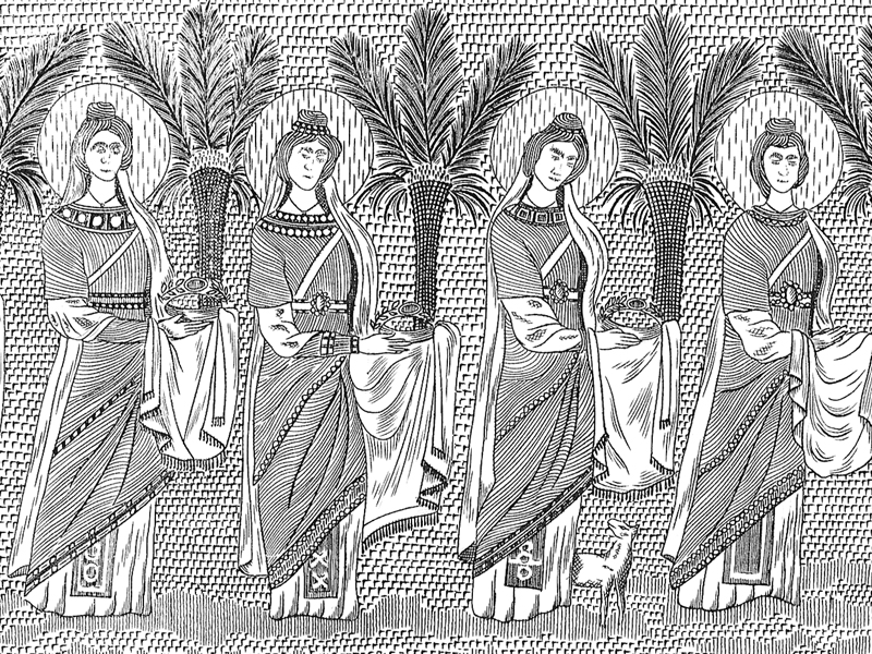 Ravenna, Mosaics in S. Apollinare, 20th-century engraving.