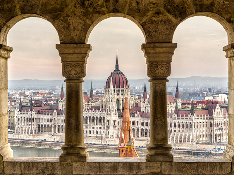 Budapest, Parliament view through Fishermans Bastion, photograph ©Luciano Mortula/ shutterstock.