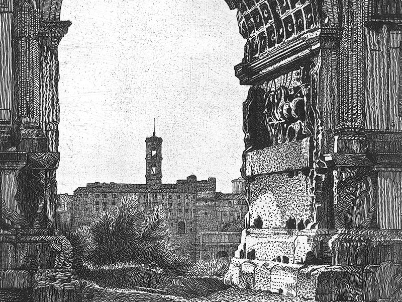 Rome, Arch of Titus, etching by Benvenuto Disertori.
