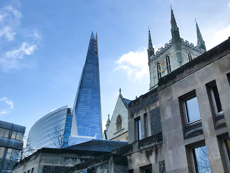 The Shard and Southwark Cathedral.