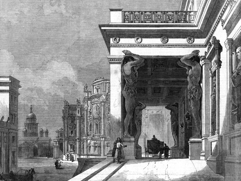 St Petersburg, entrance to The Hermitage, wood engraving c. 1880.