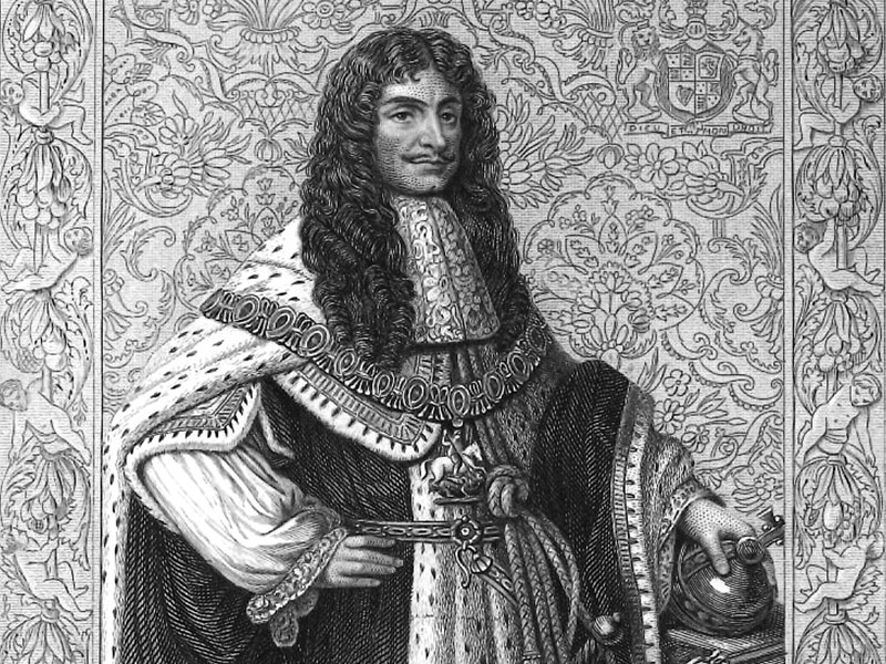 Charles II, engraved by H. Bourne, after the portrait by Sir Godfrey Kneller.
