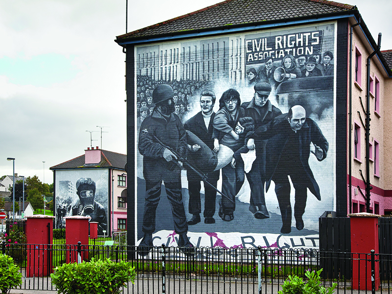 Political mural in Bogside, Derry-Londonderry, Photo courtesy of Tourism Northern Ireland.
