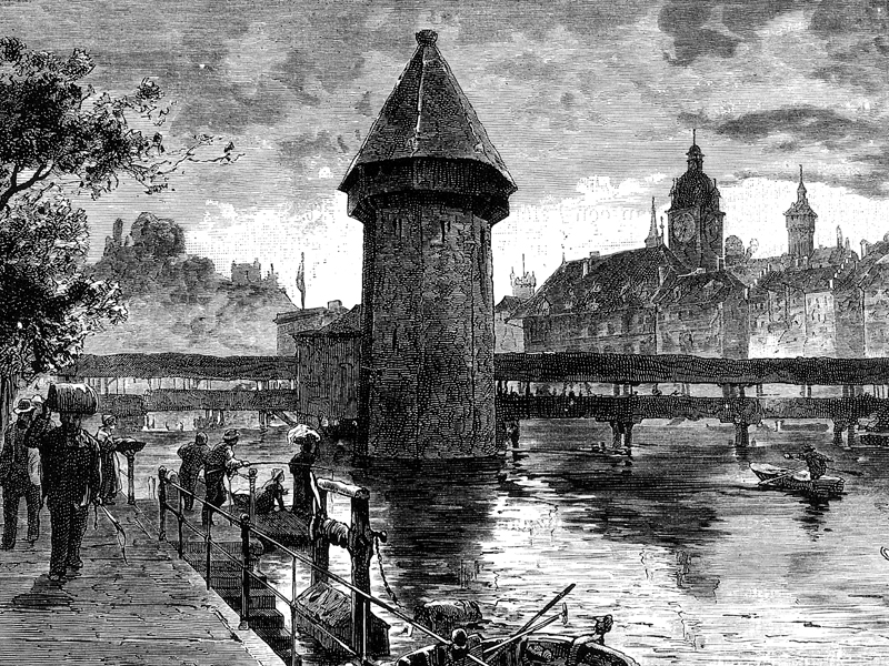 Lucerne, wood engraving c. 1890.