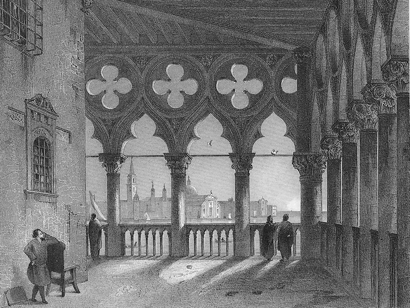 Venice, the Doge's Palace, mid-19th-century steel engraving.