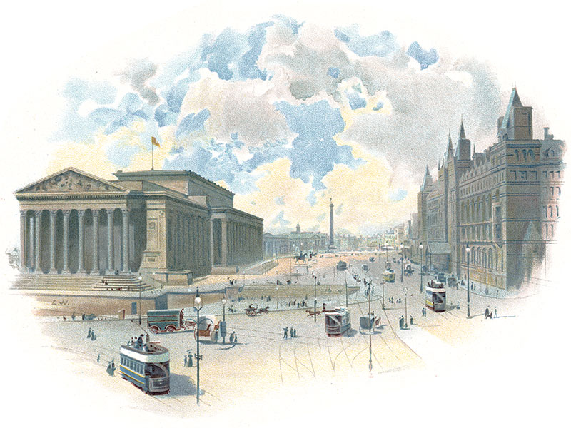 Liverpool, St George's Hall and Lime Street Station, 19th-century lithograph by Charles Wilkinson.