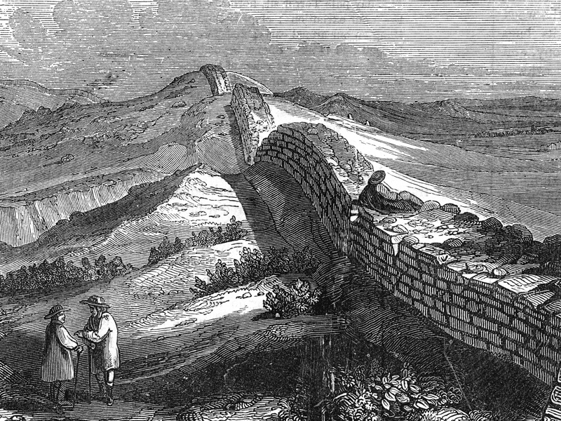 Hadrian's Wall near Housesteads, wood engraving c. 1888.