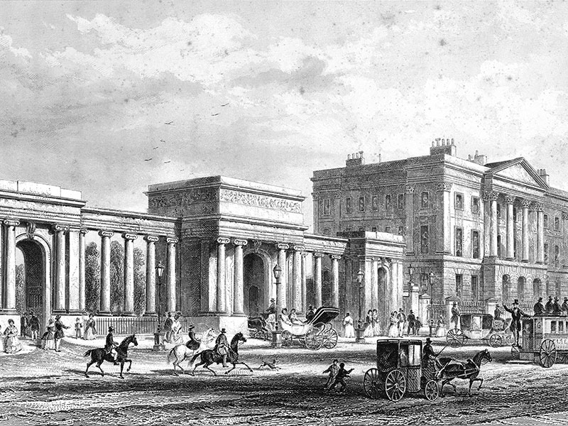 London, Apsley House and the entrance to Hyde Park, steel engraving c. 1850.