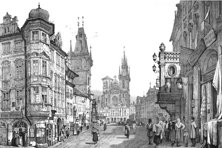 Prague, Old Town Square, lithograph by Samuel Prout 1839