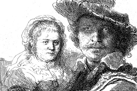 'Self-portrait with Saskia' 1636, after Rembrandt.