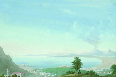 The Bay of Naples and Vesuvius, 19th-century gouache.