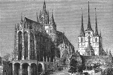 Erfurt cathedral, wood engraving c. 1880.