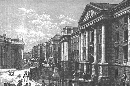 Dublin, Trinity College, wood engraving c. 1880.