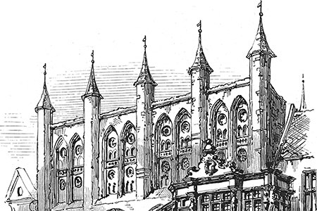 Lübeck, Town Hall, engraving from 'Leaves from a Sketchbook', c. 1890.
