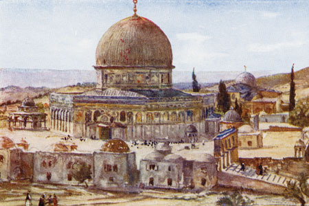 Jerusalem, Mosque of Omar, watercolour by Phoebe Allen, publ. 1913.