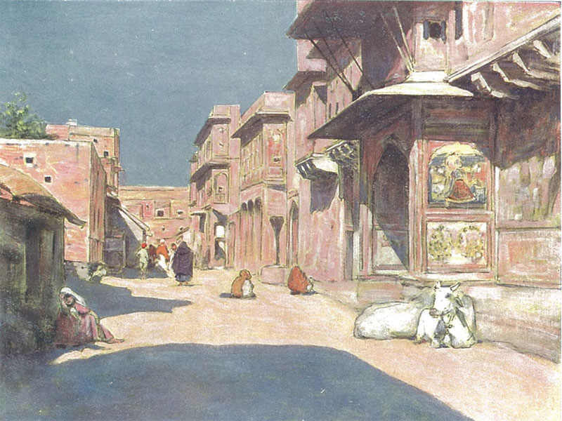 Jaipur, watercolour by Mortimer Menpes, 1910.