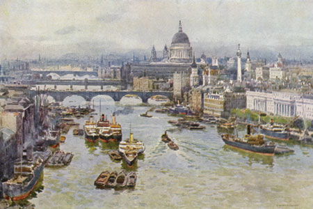 The Thames with St Paul's in the background, watercolour by E.W. Haslehurst, publ. 1924.