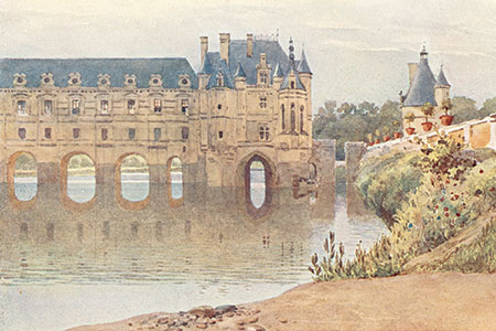 Château de Chenonceau, watercolour by A.H. Hallam Murray, publ. 1904.