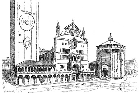 Cremona, cathedral and baptistery, from 'A Dawdle in Lombardy & Venice' by I.S. Williams, 1928.