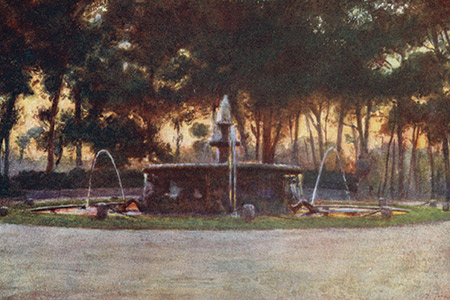 Gardens of the Villa Borghese, watercolour by Alberto Pisa, publ. 1905.
