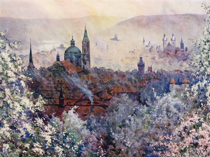 Prague, watercolour by B. Granville Baker, publ. 1923