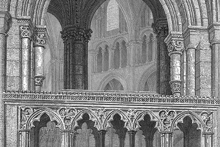 Canterbury, cathedral, wood engraving c. 1880 from 'Brittons Cathedral Antiquities.'