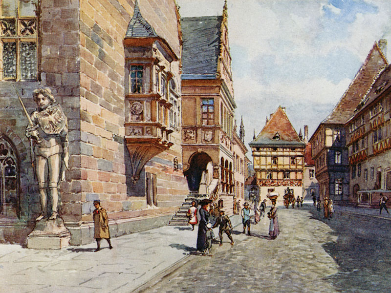 Halberstadt, Town Hall, watercolour by E.T. Compton, publ. 1912