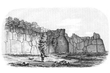 Remains of the Inca fort at Cuzco, lithograph, 1854.