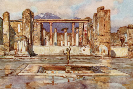 Pompeii, watercolour by Frank Fox, publ. 1915