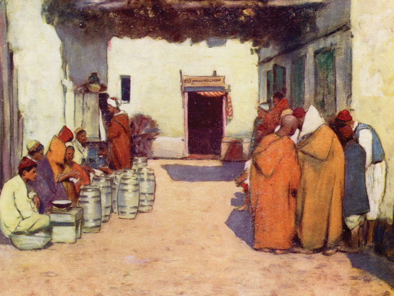 A courtyard, Morocco, watercolour by Mortimer Menpes in World Pictures, 1903.