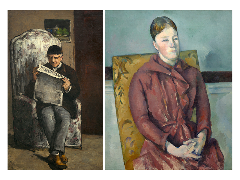 1. Cézanne's Father, Reading L'Evénement, 1866 National Gallery of Art, Washington, D.C.; Collection of Mr and Mrs Paul Mellon. 2. Madame Cézanne in a Red Dress, 1888–90 Art Institute of Chicago; Wilson L. Mead Fund