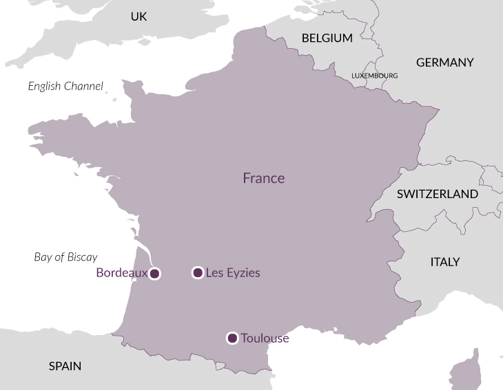 Map: Cave Art of France.