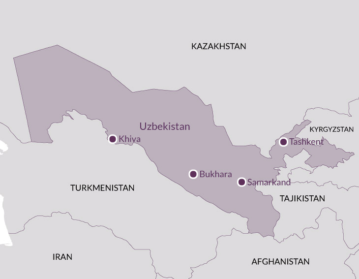 Map for Samarkand and Silk Road Cities.