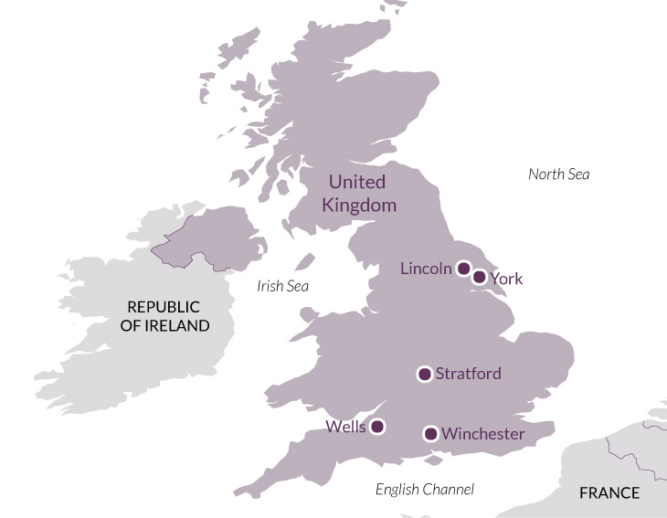 Map: The Cathedrals of England.