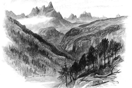 The Dolomites and the Cadora Valley, wood engraving 1893 after John McWhirter.