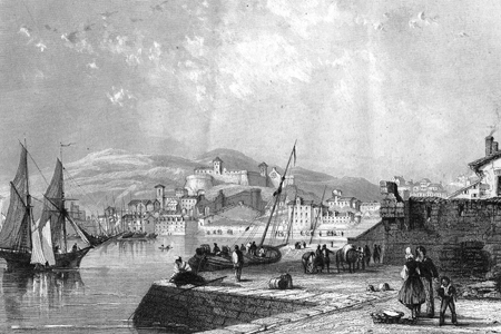Trieste, steel engraving c. 1840