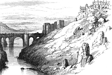 Toledo, the Tagus and Bridge of St Martin, wood engraving c. 1870.