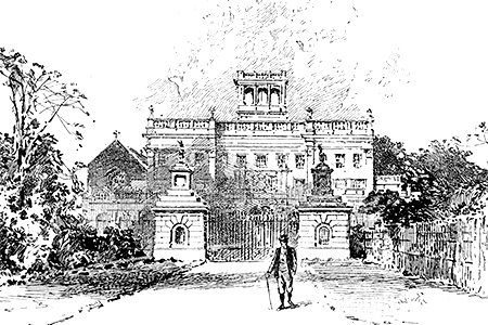 Trentham Hall, 19th-century etching.