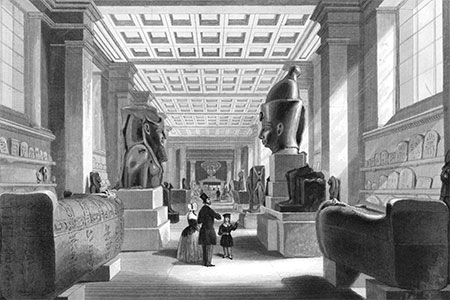 The British Museum: the Egyptian Room, with visitors. Engraving by Radclyffe after B. Sly, 1844.