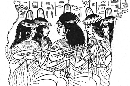 Ancient Egyptian musicians, engraving c. 1880 by Rev. Samuel Manning from 'Land of the Pharoahs'.