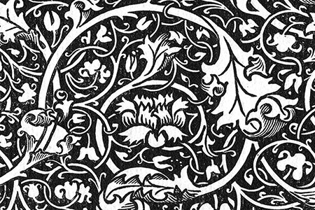 Design by William Morris, reproduced in Pen Drawings & Pen Draughtsmen by Joseph Pennell, publ. 1889