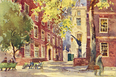 Fountain Court, Inner Temple, watercolour by Jack Merriott.