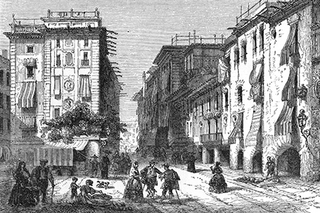 Barcelona, wood engraving c. 1880.