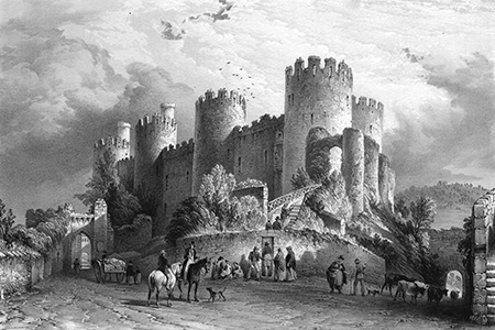 Conwy Castle, lithograph c. 1840.