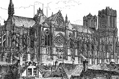 Rheims Cathedral, engraving, 1890.
