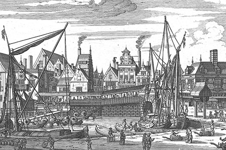 Amsterdam, the fish market, copper engraving c. 1760.