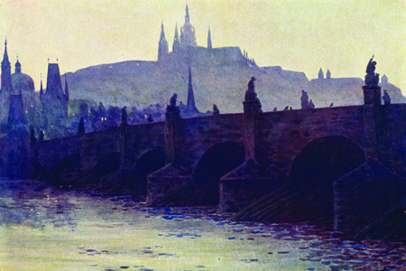 Prague, Charles Bridge, watercolour by B. Granville Baker, publ. 1923.
