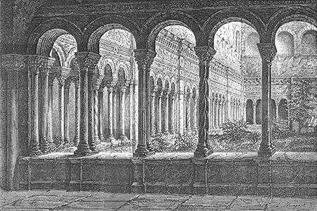 Rome, cloister of St John Lateran, wood engraving 1877.